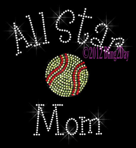 All Star Sports Mom Series Rhinestone Iron on Transfer Hot Fix Bling School
