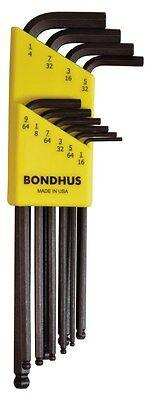 """1//16/"""" 1//4/"""" Hex BallDriver® Long Arm L-Wrench Set 10pcs Bondhus USA #10938"""