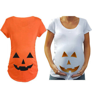 b169452c571cb Image is loading 1PC-Pregnant-Ladies-Pumpkin-Face-Maternity-T-shirt-