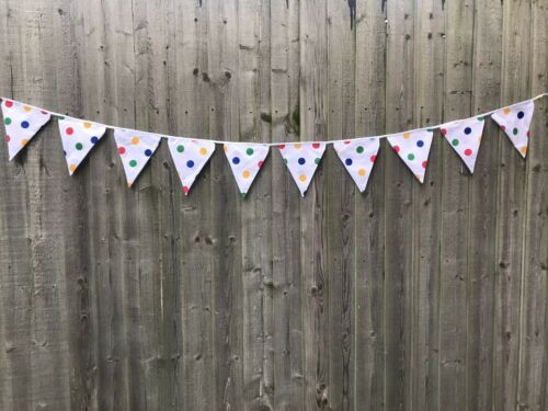 """98.43/""""//2.50m CHILDREN IN NEED FLAG BANNER//BUNTING WHITE WITH POLKA DOTS"""