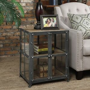 Image Is Loading Viking Silver Finish Metal And Glass End Table