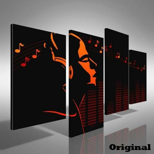 Abstract Music Singing Offset Canvas Print Large Picture Wall Print