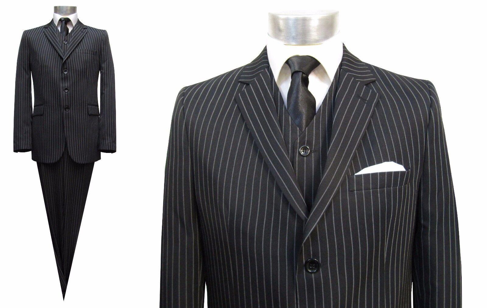 Nadel streifen Herren Anzug 3-teilig Gr.44 Schwarz