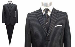 Nadelstreifen Herren Anzug 3 teilig Gr.64 Schwarz | eBay