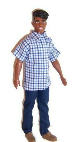 Doll Clothes-Navy//Blue Plaid Print Shirt /& Navy Pants