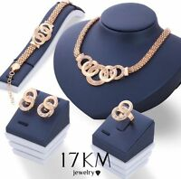 Jewellery Sets Gold Tone Bridal Crystal Necklace Bracelet Earrings Ring Set