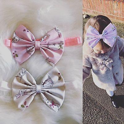 Baby Girl Headbands Bunny Ears Rabbit Bow Fabric Newborn Toddler Easter lot