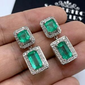 Colombian-8-33TCW-Emerald-Diamond-18K-WHITE-gold-Earrings-dangling-studs-natural