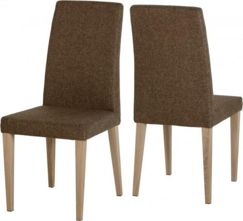 Finley Dining Set with 4 Fabric Chairs in Oak Effect Veneer Listed Separately