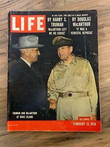 LIFE MAGAZINE February 13th 1956 Truman and MacArthur at Wake Island / Great Ads