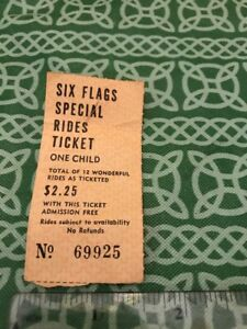 Six-Flags-Special-Rides-Ticket-Stub-One-Child-FREE-SHIPPING