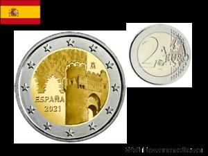 2 Euros Commémorative Espagne 2021 Tolède UNC