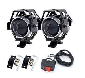 2-PCS-12V-125W-White-Motorcycle-Headlights-w-Switch-3000Lm-LED