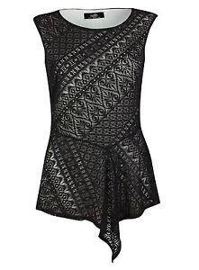 Ex-Wallis-Black-Lace-Sleeveless-Shell-Top-Blouse-Size-8-20