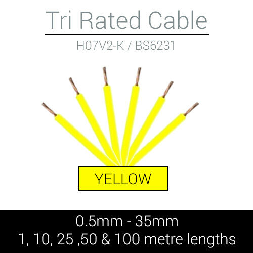 YELLOW TRI RATED CABLE 0.5MM 35MM MARINE AUTOMOTIVE 12V 240V CUT TO LENGTH