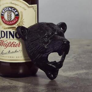Antique-Cast-Iron-Bottle-Opener-Bear-Pattern-Wall-Mounted-Bar-Beer-Supplies-CO