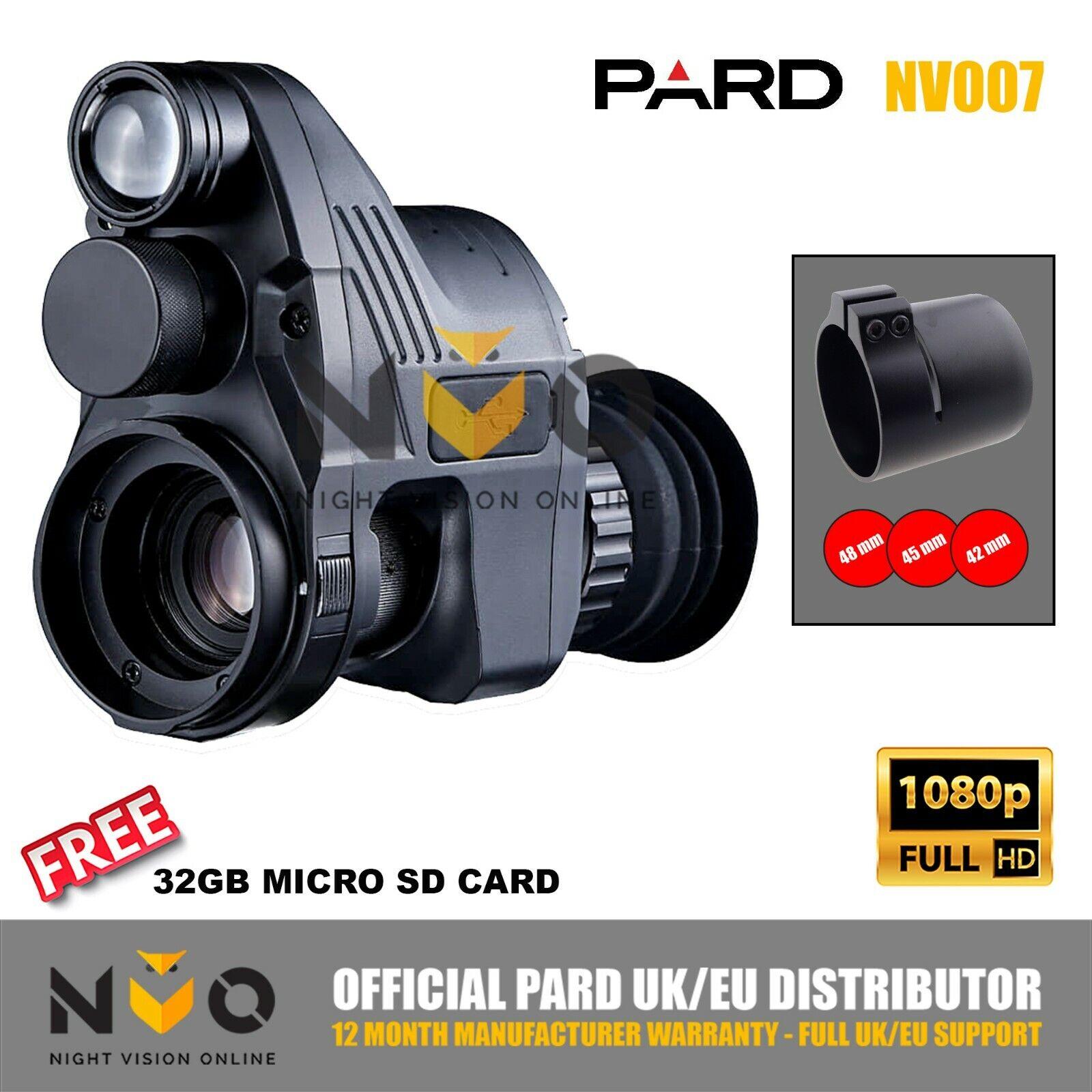 PARD NV007 12mm 16mm visión nocturna rifle scope Addon 1080p de grabación de alta definición 850nm ir