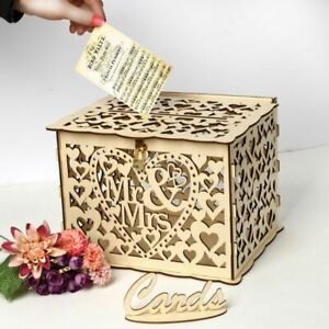 Details About Mr Mrs Diy Wedding Gift Card Box Wooden Money Box With Lock Box Wedding Decor
