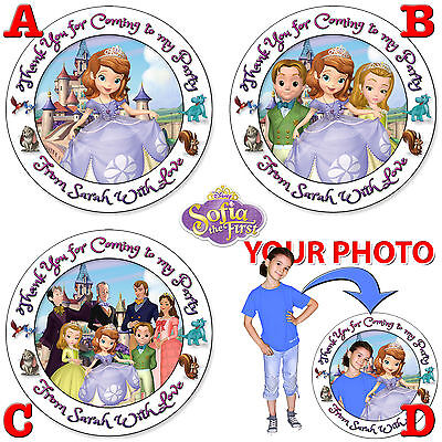 Personalised Round Princess Sofia the 1st Birthday Party Stickers Sweet Cone Bag