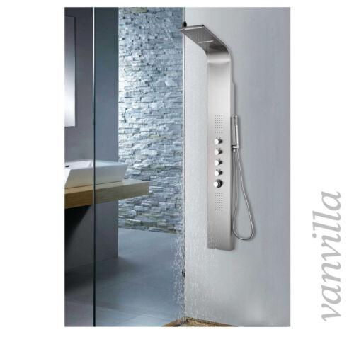 vanvilla Duschpaneel Arezzo-2 Edelstahl Thermostat Schwall Regenbrause u