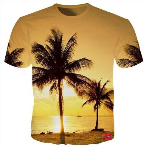 Cool Coconut Tree Beach Waters Women Men T-Shirt 3D Print Short Sleeve Tee Tops