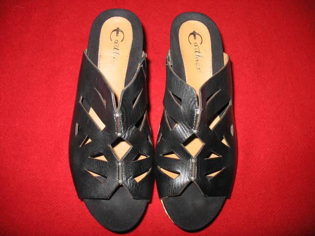 Zapatos de cuña Earthies para mujer, tamaño  10, Color Color Color  Negro Y Cuero De Paja, Nuevo, Valor  mejor precio