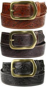 Jefferson-Western-Embossed-Genuine-Leather-Belt-1-1-2-wide-Black-Brown-Tan