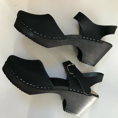 Clog Sandals from Sweden Black with a Heel Size 40 EU Swedish Clogs