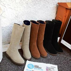 official supplier good quality first look Details about Women Lady Simple and comfortable flat Boots Mid-Calf Boot  Suede Shoes Long Boot