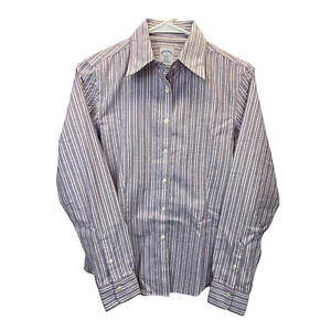 Brooks Brothers 346 Womens Long Sleeve Button Down Stripe Shirt Size 4