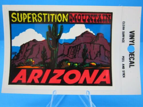 """NEW OLD STOCK DECAL /""""SUPERSTITION MOUNTAIN  ARIZONA/""""  STICKER Vintage.."""