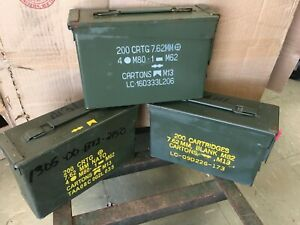 ONE-30-Cal-Ammo-Can-Army-Military-M19A1-Metal-Storage-Box-7-62-MM