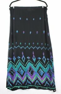 Chicos-039-s-Design-Women-039-s-100-Rayon-Long-Pencil-Skirt-Black-Geometric-Print-Sz-1