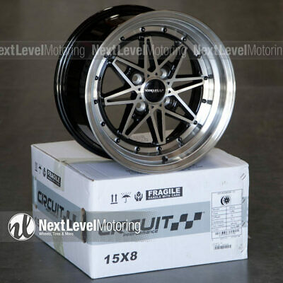 1 Circuit CP24 15x8 4-100 +25 Gloss Black Machined Wheels ...