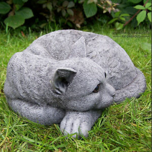 Image Is Loading CURLED UP CAT Garden Ornament Statue Hand Cast