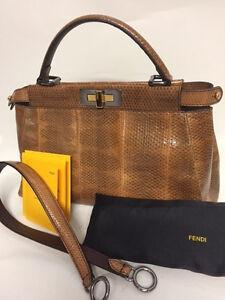 FENDI-Peekaboo-Echt-Leder-Handtasche-Handbag-Python-Reptil-Original-C802