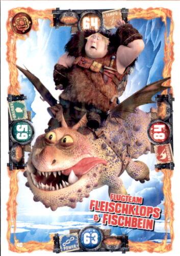 Dragons 3-Die geheime Welt Drachen Karte 40 Flugteam Fleischklops/&Fischbein