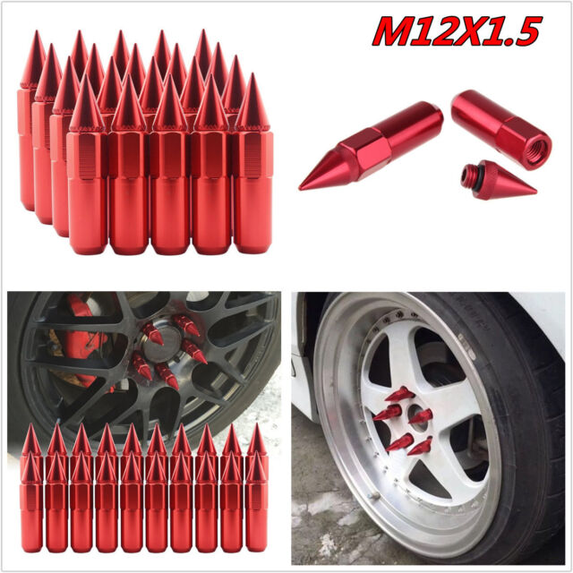 20pcs Spiked Nut Red Aluminum Extended 60mm Lug Nuts For Wheels//Rim M12X1.5 Set