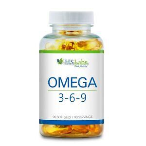 Omega 3 6 9 Capsule di Olio di pesce acidi grassi essenziali ad alto dosaggio con Vitamina E