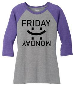 Ladies Happy Friday Sad Monday 3/4 Raglan Weekend