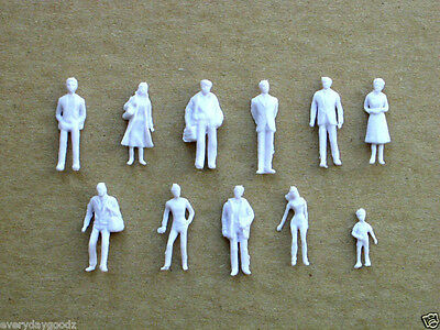 100x Building Model Trains 1:100 Scale WHITE Figures HO