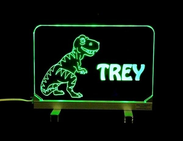 Personalized T-Rex Acrylic Desk Table Sign - Kids Lamp Night Light 3 8  Acrylic