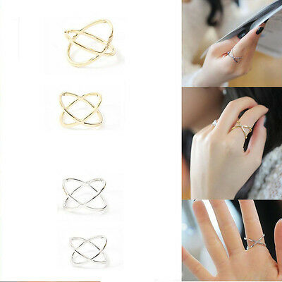 "Women Fashion Jewelry Metal Unique Hollow  ""X"" Criss Cross Rings Jewelry Gift"