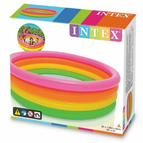 Piscina Gonfiabile Arcobaleno 4 Anelli Intex 168x46CM Bambini Gioco Estate