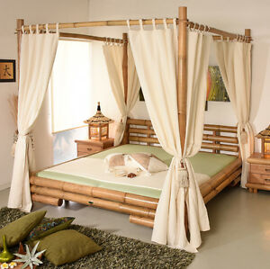 himmelbett 140x200 koh tao natur bambusbett bettrahmen holzbett doppelbett luxus ebay. Black Bedroom Furniture Sets. Home Design Ideas