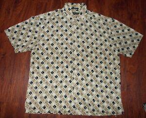 Men-039-s-Geoffrey-Beene-Causal-Shirt-Size-XL-Short-Sleeve-Beige-Diamond-039-s