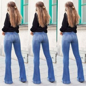 Women-Bootcut-Jeans-Ladies-Bell-Bottoms-Flared-High-Waist-Hipster-Denim-Pants-AU