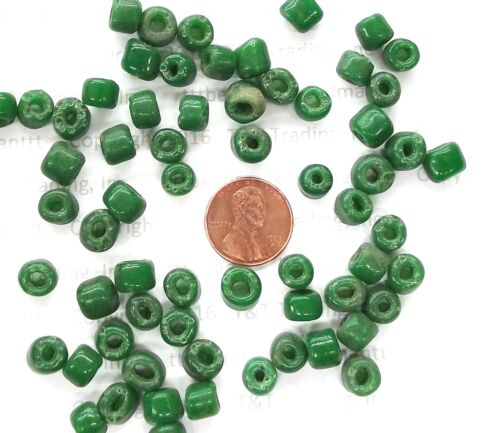 "20/"" Strand Antique Greasy Pine Green Crow Venetian Trade Beads  # 174"