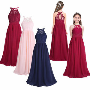 841a31f9ae4 Girls Halter-Neck Floral Lace Junior Bridesmaid Dress Party Wedding ...