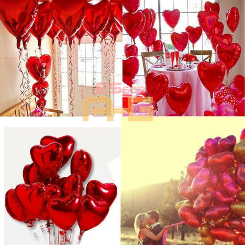 10X Red Heart Love Foil Helium Balloons Wedding Party Decration Valentine's Day
